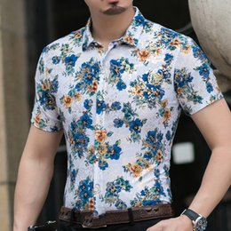 cartoon chinese dragons UK - Casual 80% Silk Shirt Men Short Sleeve Both Sides Print Chinese Dragon Nation Flower 2020 Beach Summer Clothes