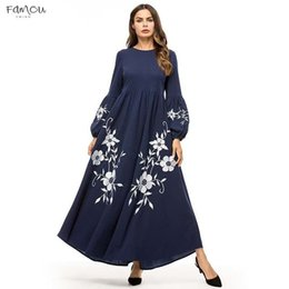 long sleeve maxi dresses Australia - Elegant Swing Embroidery Women Long Dress High Waist Vintage A Line Dresses Maxi Bishop Sleeve Autumn Fall