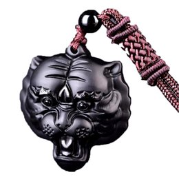 Black Hand Pendant Australia - Natural Black Obsidian Pendant Hand Carved Lucky Amulet Tiger Head Obsidian Necklace for Men Women with Chain Gift
