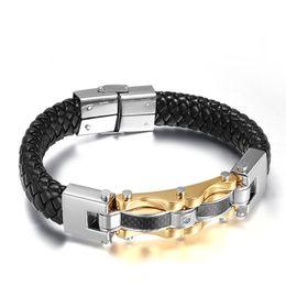 $enCountryForm.capitalKeyWord Australia - 14MM Fashion Simple Men's Leather Bangle Stainless Steel Carbon Fiber Bracelet Watchband Jewelry Gift for Men Boys J044