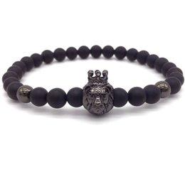 $enCountryForm.capitalKeyWord Australia - Crown Lion Bracelet Men 6mm Beads 2019 New Fashion Stone Beads Charm Bracelets For Men Jewelry pulseira masculina