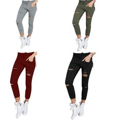 $enCountryForm.capitalKeyWord Australia - Pant Skinny Capri Women Sexy Holes Pencil Sweapant Summer Female High Waist Casual Trouser Stretch Ripped Jean Plussize