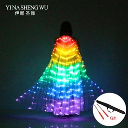 $enCountryForm.capitalKeyWord Australia - Stage Performance Props Women Dance Accessory DJ LED Dance Wings Light Up Wing Costume LED Wings Rainbow Colors With Stick
