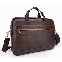 Design Genuine Leather NZ - Hot Selling Guarantee Genuine Cow Leather Classic Brown Men's Unique Design Briefcases Laptop Handbag Busniess Crossboday Bag
