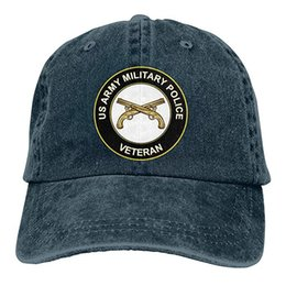 512507b86d2 2019 New Custom Baseball Caps US Army Veteran Military Police Mens Cotton  Adjustable Washed Twill Baseball Cap Hat
