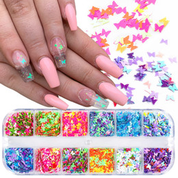 12 Grids 3D Nail Art papillon Flakes Holographics ongles Glitter Paillettes Décoration bricolage Nail Design Art beauté Salon