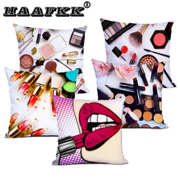 $enCountryForm.capitalKeyWord Australia - Perfume bottle Cushion Covers Lipstick Eyebrow pencil Cushion Cover Decorative white Polyester fiber Pillow Case