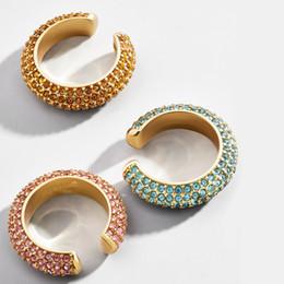 Gold plated ear cuffs online shopping - Boho Crystal Ear Cuff Brincos C Shape Colorful No Pierced Statement Earring for Women Charm Clip Wedding Jewelry ZA