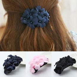 Clip Hair Black Australia - Women Fashion Six Flowers Hair Clip Hairpin Hair Style Tool Navy Blue, Pink, Black