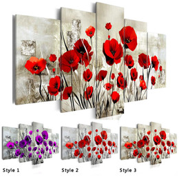 Canvas Pictures Flowers Australia - HD 5PCS Set Red Pruple Poppy Flower Art Print Frameless Canvas Painting Wall Picture Home Decoration,Choose Color And Size(No Frame)