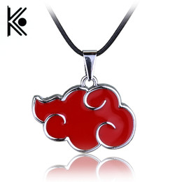 Wholesale free shipping naruto cosplay for sale - Group buy Japanese Anime Cosplay Naruto Akatsuki organization red cloud sign metal pendant necklace Women Men Necklace