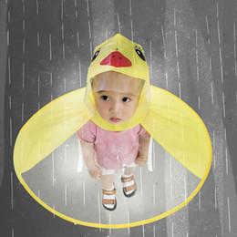 Raincoat Rain Hat Australia - Cute Raincoat Cartoon duck Kids Rain Coat UFO  Children Umbrella Hat 8e1079121b35