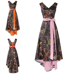 high country bows 2019 - Camo High Low Country Bridesmaid Dresses 2019 V neck Ribbon Bows Orange Pink Inner Satin Wedding Guest Prom Formal party