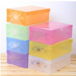 transparent plastic shoe boxes NZ - New Transparent Shoebox with Lid Clear Plastic Shoe Clamshell Storage Boxes Bins DIY Boots High Heels Shoes Boxes Home Organizer