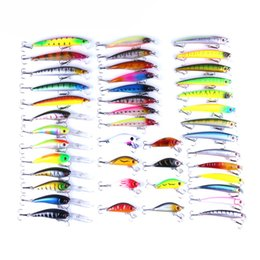 pike flies Canada - 43pcs   lot different size color Fishing Lure Hard Bait Minnow Crankbait Wobblers Peche Bass Artificial Baits Pike Carp Lures Swimbait