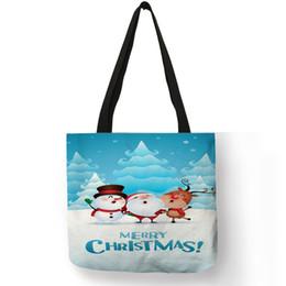 Reusable Christmas Gift Bags Australia - Fashion Women Hand Bags Christmas Snow Scenery Trees Gifts Tote Bag Eco Linen Reusable Practical Shopping Traveling Shoulder Bag