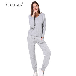 one size clothes Australia - Voobuyla One Size Women Tracksuits Knitting V neck Top+Pants Sport Suit Gym Fitness Workout Yoga Set Running Jogging Clothing