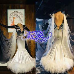 $enCountryForm.capitalKeyWord Australia - Everyday Ballroom Waltz Tango Quickstep Dance Dress COSTUME-MADE ballroom dance dress White Ostrich Feather