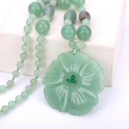 $enCountryForm.capitalKeyWord Australia - Natural Stone Necklaces Women's Jewelry Aventurine Jade Flowers Pendant Hand Carved Crystal Prom Exaggerated Boho Necklace Mix MX190816