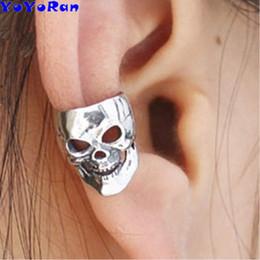 $enCountryForm.capitalKeyWord Australia - 12pcs lot vintage hollow skeleton clip earrings ear cuff for man antique silver bronze punk rock skull head earring jewelry