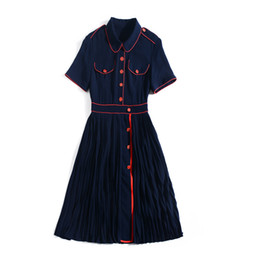 Collared Mid Calf Dress UK - 2019 Summer Fall Short Sleeve Peter Pan Collar Contrast Color Pleated Mid-Calf Length Dress Luxury Runway Dresses JN1016