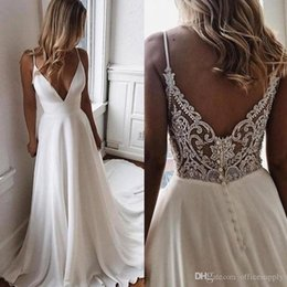 thin simple wedding dresses UK - Sexy Simple Beach A-Line Wedding Dress New Spaghetti Crystal Beaded Boho Bridal Gowns Sleeveless Thin Starps Sweep Train Robe De Mariee