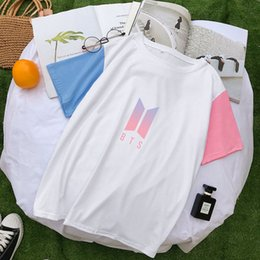 $enCountryForm.capitalKeyWord Australia - Kawaii Color Block Kpop BTS Fans Short Sleeve T Shirt for Women Cute Girls Harajuku Graphic Bangtan Boys Top Tee Oversized M-2XL