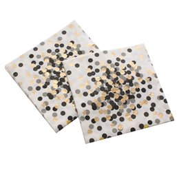 gold dots baby UK - 1pack Black Dot Gold Stars Paper Napkin Party Virgin Wood Paper Napkin For Wedding Baby Birthday Home Decoration Supplies