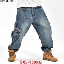New Trendy Jeans Mens Loose Harem Pants Slightly Stretch Big Size Skateboard Baggy Jeans Male Trousres Cotton Superior Performance Men's Clothing