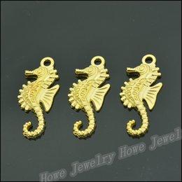 Charm Jc Australia - Wholesale 200PCS Gold-color Charms Hippocampal Pendant Fit Bracelets Necklace DIY Metal Jewelry Making JC-286