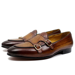$enCountryForm.capitalKeyWord NZ - Autumn Mens Leather Loafers Gentleman Wedding Party Casual Slip On Formal Shoes Black Brown Monk Strap Men Dress Shoes