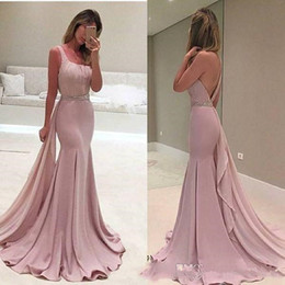 long prom dresses stones UK - 2020 New Sexy One Shoulder Satin Mermaid Long Prom Dresses Ruffle Beaded Stones Waistband Formal Party Floor Length Evening Dresses