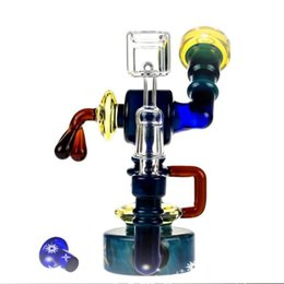 robot glasses Australia - Robot colorful bong heady wax glass bongs dab rig quartz banger glass water pipe oil rigs glass pipes hookahs