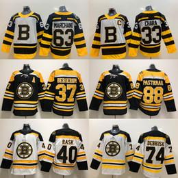 3dab67eca 37 Patrice Bergeron Jersey Boston Bruins 33 Zdeno Chara 63 Brad Marchand 40  Tuukka Rask 88 David Pastrnak 74 Jake DeBrusk Hockey Jerseys