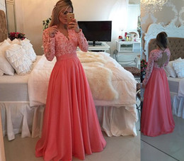 New fashioN dress teeN online shopping - Coral Ball Gown Pink Lace Backless Sexy Prom Dresses Evening Gowns New Fashion Long Sleeves For Teens V Neck A Line Covered Button