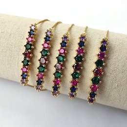 curved bar bracelet NZ - Rainbow cubic Zircon Curved Bar Connector Bracelets,Colorful CZ Stone micro pave jewelry bracelet for women girl gift BG283