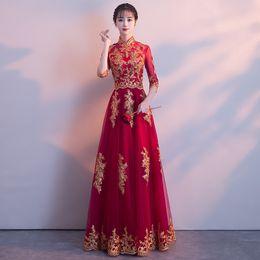 17d0f1cc2bd RED Traditional Chinese Wedding Gown Cheongsam Long Qipao Bride Traditions  Classic Women Dress Oriental Dresses Vestido Novia