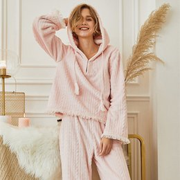 Service Clothes Australia - Pajamas women's autumn and winter flannel thick soft cute sweet pink shirt loose pants hooded home service suit home clothing Leisure wear