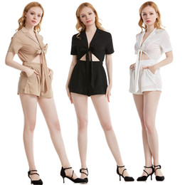 Wholesale white sexy short jumpsuit for sale – dress CS513 Sexy Women V Neck Tied Front High Waist Elasticity Short Jumpsuit Female Summer Holiday Beach Romper Women Short Sleeve Jumpsuit