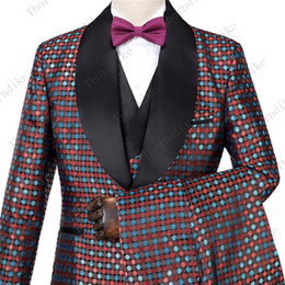 Discount grooms smoking suit - Red And Blue Idot Mens Wedding Suits 2019 Italian Design Custom Made Smoking Tuxedo Jacket 3 Piece Groom Terno Suits For