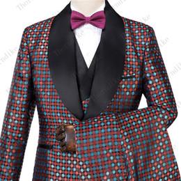 $enCountryForm.capitalKeyWord NZ - Red And Blue Idot Mens Wedding Suits 2019 Italian Design Custom Made Smoking Tuxedo Jacket 3 Piece Groom Terno Suits For Men
