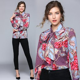 18d296156e9cfc New 2019 Spring Runway Classic Floral Print Collar OL Women's Ladies Casual  Office Button Front Bow Tie Neck Long Sleeve Blouses Shirts Tops