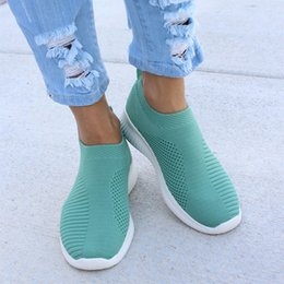 $enCountryForm.capitalKeyWord Australia - LITTHING Knitting Sneakers Women Casual Shoes Plus Size Sock Stretch Flat Ladies Slip On Shoes Female Leisure Flats Espadrilles