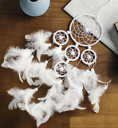 decoration for marriage NZ - Dream Catcher Pure White Dreamcatcher Five Circle Wall Hanging Wind Chimes Pearl Feather Pendant Decoration Ornament For Home Bedroom