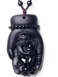 Black Hand Pendant Australia - New Beautiful Natural Black Obsidian Hand Carved Lucky Kwan-yin Amulet Pendants---- Free Shipping