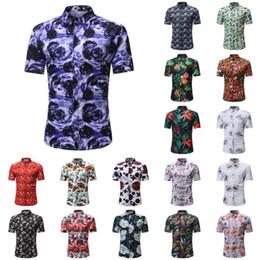 $enCountryForm.capitalKeyWord Australia - Men's Casual Shirts Summer Short Sleeve Print Slim Fit Urban Fashion Tops Blouse Floral Printed Button Mens Shirts Casual