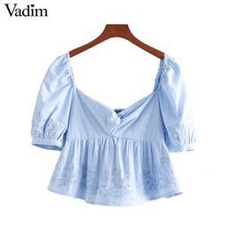 collar puff sleeves shirt 2019 - Vadim women embroidery blue crop top vintage square collar short sleeve shirt casual female cute blusas DA412 cheap coll