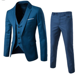 green men s fitted suit UK - (Jacket+Pant+Vest) Luxury Men Wedding Suit Male Blazers Slim Fit Suits Men's Costume Business Formal Party Classic plus size 6XL