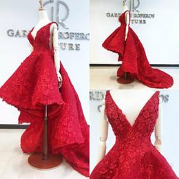 Side high low prom dreSSeS online shopping - 2020 Red High Low Prom Dresses Lace D Floral Appliqued A Line Sweep Train Evening Dress Party Wear Custom Made Formal Occasion Gown