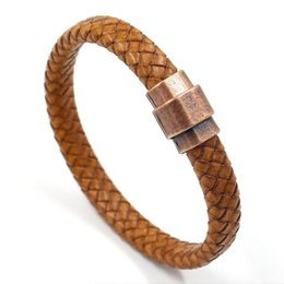 leather wrist cuffs for men NZ - Vintage Jewelry Genuine Leather Bracelet Rope for Men Braided Cuff Bangles Wrist Band Red Copper Magnetic Clasp Bracelet